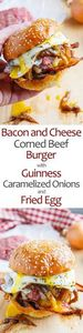 Bacon and Cheese Corned Beef Burge - 300 Delicious Bacon Recipes - RecipePin.com