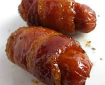 Bacon wrapped Lil' Smokies with a  - 300 Delicious Bacon Recipes - RecipePin.com