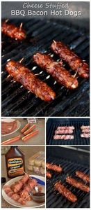 Cheese Stuffed BBQ Bacon Hot Dogs  - 300 Delicious Bacon Recipes - RecipePin.com