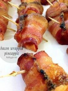 Bacon-wrapped pineapple! #BabyCent - 300 Delicious Bacon Recipes - RecipePin.com