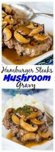 Hamburger Steaks with Mushroom Gra - 275 Beef Recipes - RecipePin.com