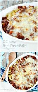 Three Cheese Beef Pasta Bake -Laye - 275 Beef Recipes - RecipePin.com