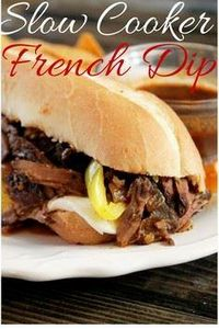 Slow Cooker French Dip Sandwich-Cr - 275 Beef Recipes - RecipePin.com