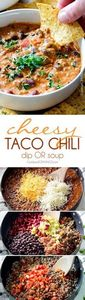 Homemade Cheesy Chili Dip or Soup  - 275 Beef Recipes - RecipePin.com