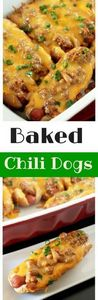 Baked Chili Cheese Dogs-Creole Con - 275 Beef Recipes - RecipePin.com