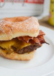 Doughnut Burgers with Candied Baco - 275 Beef Recipes - RecipePin.com