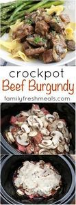 Easy Crockpot Beef Burgundy - Fami - 275 Beef Recipes - RecipePin.com