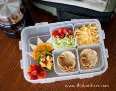 Mini taco cups and fixings in lunc - 300 Bento Box Recipes - RecipePin.com