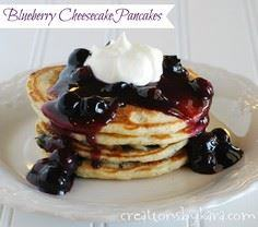 Blueberry Cheesecake Pancakes on M - 200 Delicious Blueberry Recipes - RecipePin.com