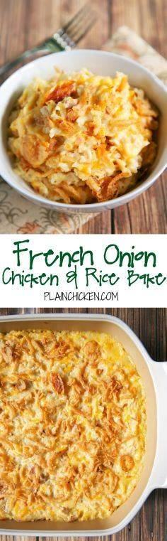 French Onion Chicken and Rice Bake - 300 Casserole Recipes - RecipePin.com