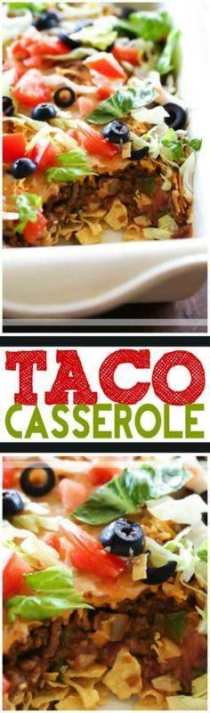 Taco Casserole... this is an easy  - 300 Casserole Recipes - RecipePin.com