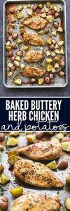 Baked Buttery Herb Chicken and Pot - 300 Chicken Recipes - RecipePin.com