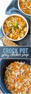 Crock Pot Spicy Chicken Soup - Thi - 300 Chicken Recipes - RecipePin.com
