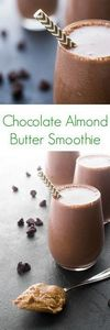 Chocolate Almond Butter Smoothie - - 230 Chocolate Dessert Recipes - RecipePin.com