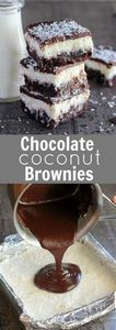 Chocolate Coconut Brownies - Fudgy - 230 Chocolate Dessert Recipes - RecipePin.com