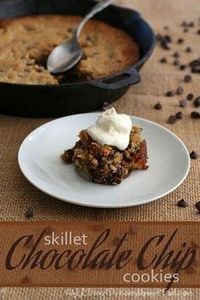 Skillet Chocolate Chip Cookies #lo - 230 Chocolate Dessert Recipes - RecipePin.com