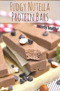 Healthy Nutella Fudge Protein Bars - 230 Chocolate Dessert Recipes - RecipePin.com
