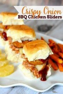 Crispy Onion BBQ Chicken Sliders - - 285 Crock Pot Recipes - RecipePin.com