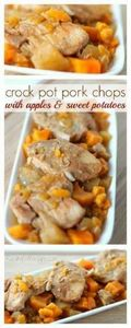 Easy Crockpot Pork Chops with Appl - 285 Crock Pot Recipes - RecipePin.com