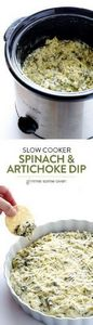 Slow Cooker Spinach Artichoke Dip  - 285 Crock Pot Recipes - RecipePin.com
