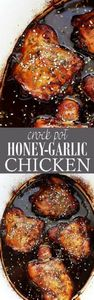 Crock Pot Honey-Garlic Chicken | w - 285 Crock Pot Recipes - RecipePin.com