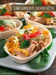 Slow Cooker Beer Chicken Fajitas - - 285 Crock Pot Recipes - RecipePin.com
