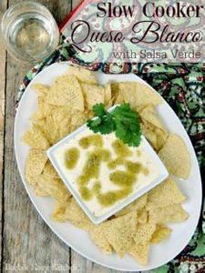 Slow Cooker Queso Blanco with Sals - 190 Dip Recipes - RecipePin.com