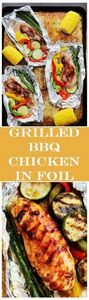 Grilled Barbecue Chicken and Veget - 290 Foil Packet Recipes - RecipePin.com