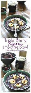 Triple Berry Banana Smoothie Bowl  - 125 Freezer Smoothie Pack Recipes - RecipePin.com