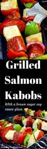 Grilled Salmon Kabobs with a brown - 290 Grilling Recipes - RecipePin.com