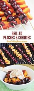 Grilled Peaches and Cherries on a  - 290 Grilling Recipes - RecipePin.com