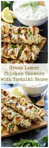 Greek Lemon Chicken Skewers with T - 290 Grilling Recipes - RecipePin.com