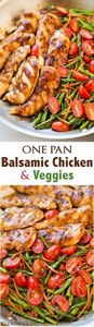 One Pan Balsamic Chicken and Veggi - 195 Healthy Chicken Recipes - RecipePin.com