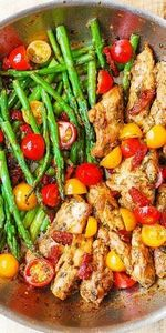One-Pan Pesto Chicken and Veggies  - 195 Healthy Chicken Recipes - RecipePin.com