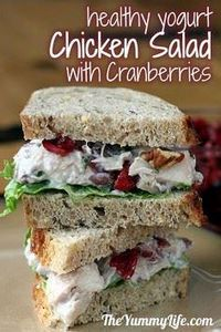 Chicken Salad with Cranberries &am - 195 Healthy Chicken Recipes - RecipePin.com