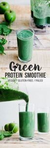 Green Protein Smoothie (Vegan + Pa - 275 Healthy Smoothie Recipes - RecipePin.com