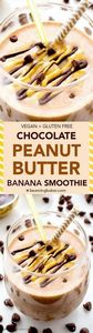 Chocolate Peanut Butter Banana Smo - 275 Healthy Smoothie Recipes - RecipePin.com