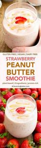 Vegan Strawberry Peanut Butter Smo - 275 Healthy Smoothie Recipes - RecipePin.com
