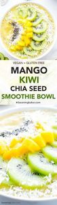 Mango Kiwi Chia Seed Smoothie Bowl - 275 Healthy Smoothie Recipes - RecipePin.com