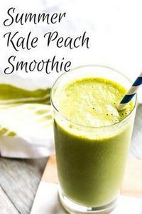 Summer Kale Peach Smoothie - Hello - 275 Healthy Smoothie Recipes - RecipePin.com