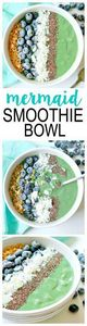Mermaid Smoothie Bowl. Vegan and D - 275 Healthy Smoothie Recipes - RecipePin.com