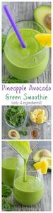 This pineapple avocado green smoot - 275 Healthy Smoothie Recipes - RecipePin.com
