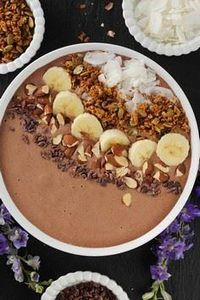 Chocolate Peanut Butter Protein Smoothie Bowl - 275 Healthy Smoothie Recipes - RecipePin.com