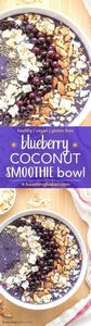 Blueberry Coconut Smoothie Bowl (V - 275 Healthy Smoothie Recipes - RecipePin.com
