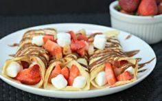 Plate of 3 strawberry s'mores crep - 240 High Protein Recipes - RecipePin.com