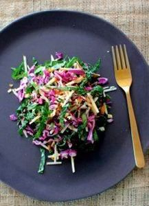 Kale and red cabbage salad with ap - 160 Kale Recipes - RecipePin.com