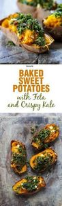Baked Sweet Potatoes with Feta and - 160 Kale Recipes - RecipePin.com
