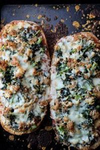Sausage Kale French Bread Pizza - 160 Kale Recipes - RecipePin.com