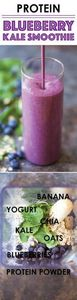 Protein Blueberry Kale Smoothie - - 160 Kale Recipes - RecipePin.com