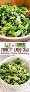 Kale and Romaine Cranberry Almond - 160 Kale Recipes - RecipePin.com
